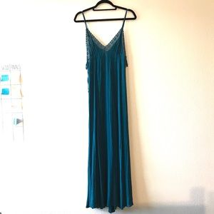 Free People Teal Slit Maxi Dress